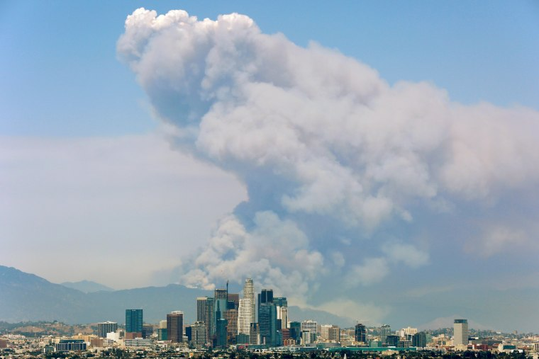 Image: Smoke from two fires burning in the Angeles National Forest rises with the downtown skyline in the foreground in Los Angeles, California