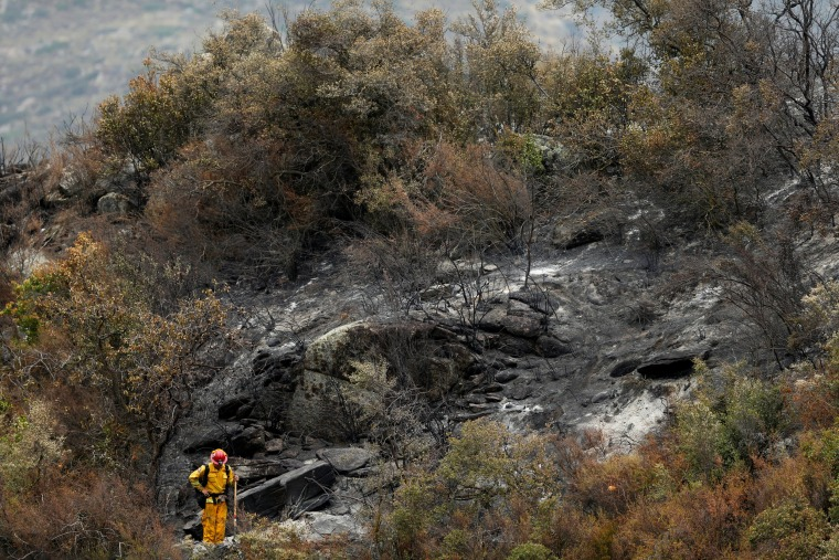 Image: A firefighter takes a break on a burned hillside as crews begin to clear brush following a wildfire near Potrero, California