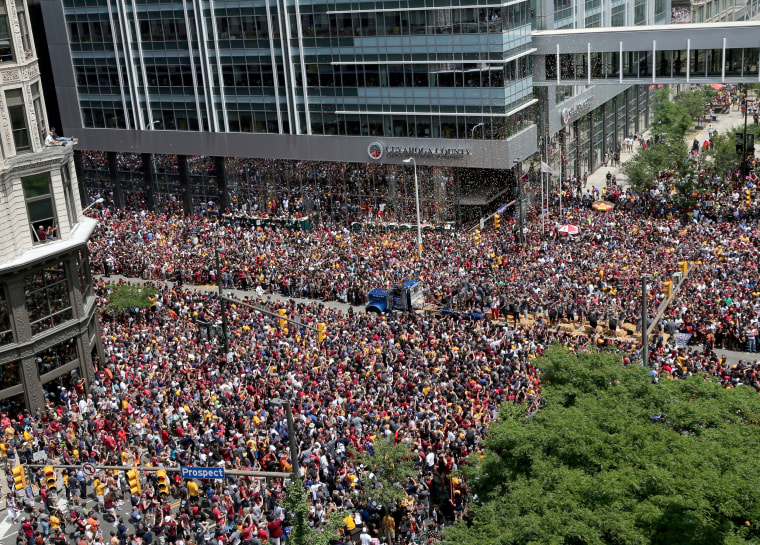 Image: Cleveland Cavaliers fans celebrate the Cavaliers 2016 NBA Championship in downtown Cleveland