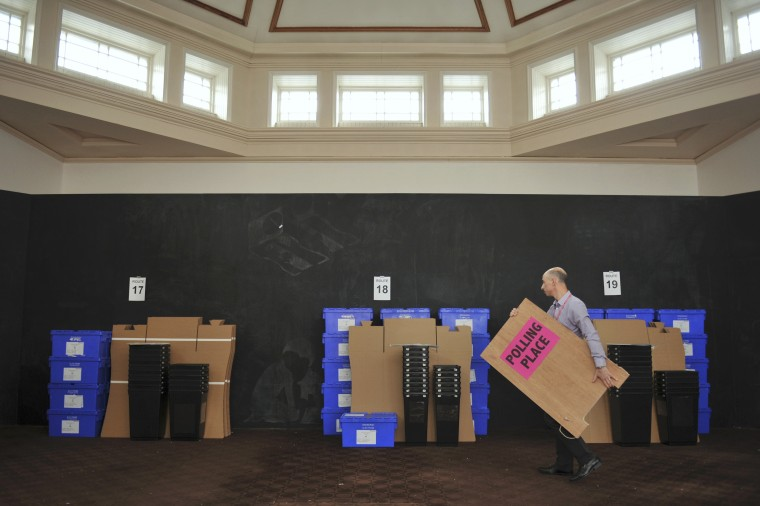 Image: Ballot boxes to be used for voting in the EU referendum, wait to be collected from storage in New Parliament House for delivery to polling stations in Edinburgh