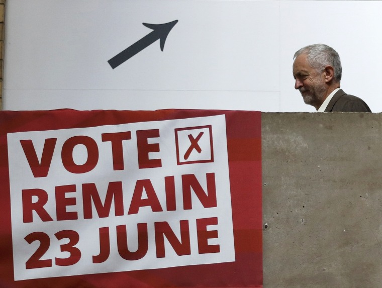 Image: Jeremy Corbyn, the leader of Britain's opposition Labour Party, arrives at a Vote Remain event in Mancheste
