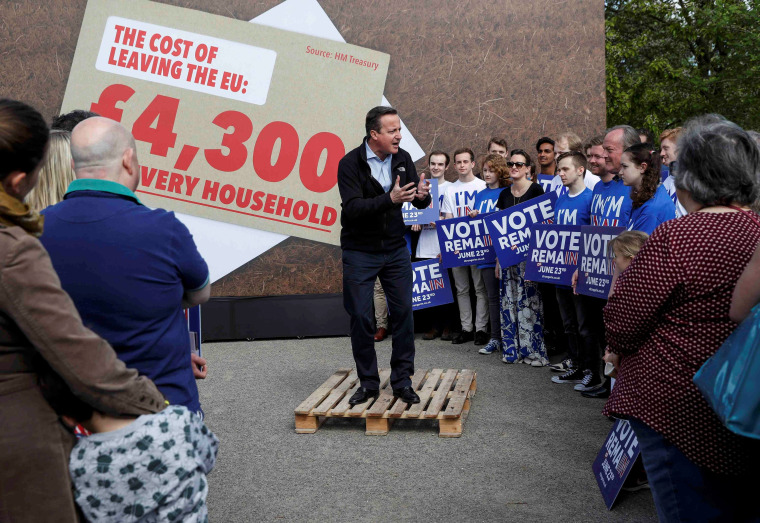 "Image: Britain's Prime Minister David Cameron speaks at a ""Stronger In"" campaign rally at a school in Witney"