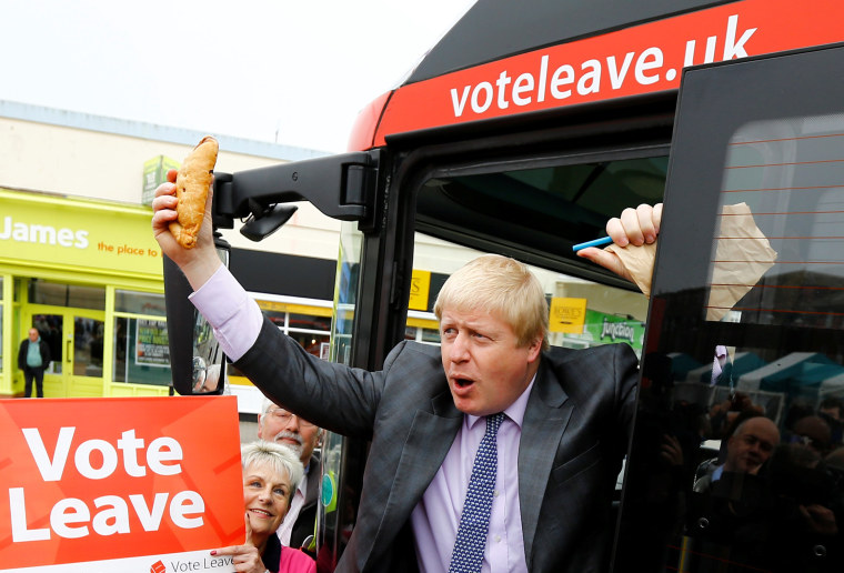 Image: Former London Mayor Boris Johnson holds up a Cornish pasty during the launch of the Vote Leave bus campaign, in Truro