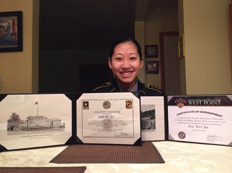 Iris Yu with her acceptance to the U.S. Military Academy at West Point, New York and scholarship from the Junior Reserve Officer Training Corps scholarship.