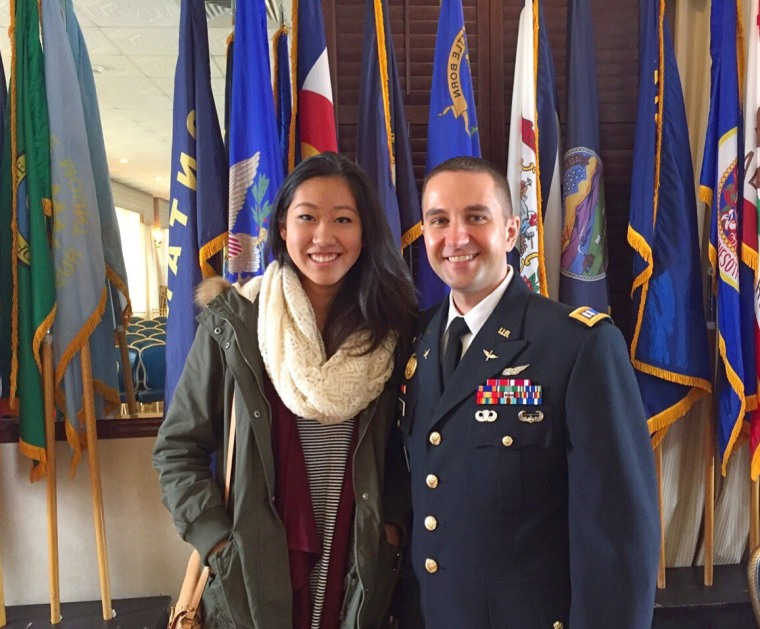 Iris Yu at Fort Hamilton with Capt. Lukasz Derda, the northeast regional commander for admissions at West Point.