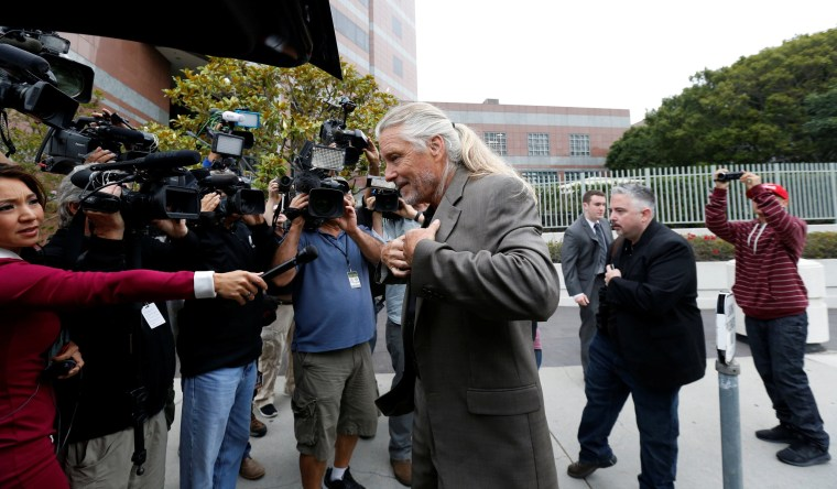"""Image: Andes, a founding member of the band Spirit, arrives to federal court for a hearing in a lawsuit involving Led Zeppelin's rock classic song """"Stairway to Heaven"""" in Los Angeles"""
