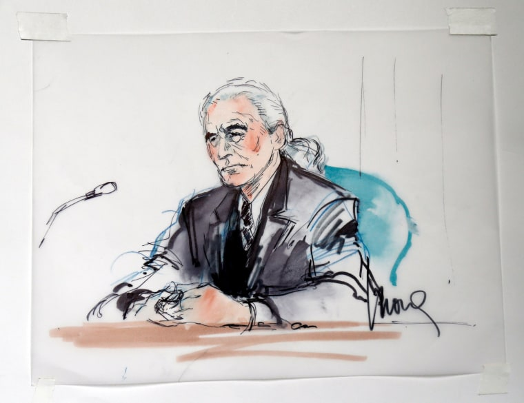 """Image: Led Zeppelin guitarist Page is shown sitting in federal court for a hearing in a lawsuit involving their rock classic song """"Stairway to Heaven"""" in this courtroom sketch in Los Angeles"""