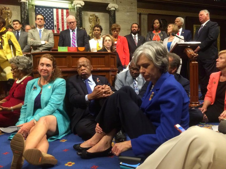 Image: A photo shot and tweeted from the floor of the House by U.S. Rep. Clark shows Democratic House members staging a sit-in over gun legislation in Washington
