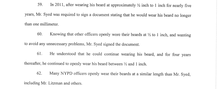 An excerpt of court documents detailing Syed's case against the NYPD.