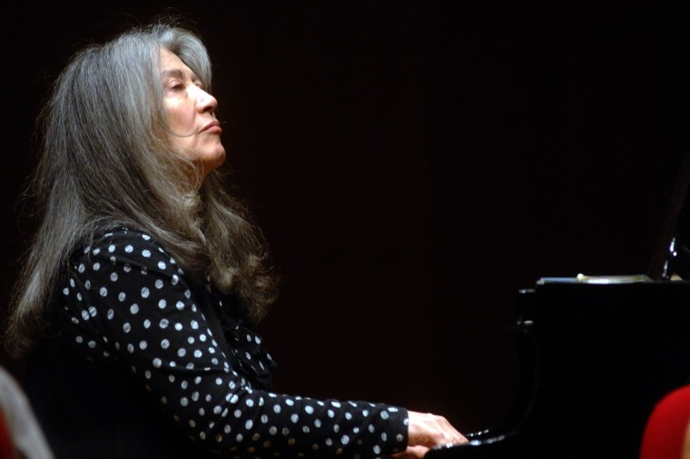 Martha Argerich and a string quartet perform at the Manzoni Theatre in Bologna, Italy.