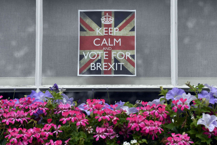 Image: Vote leave posters are seen in a window in Chelsea, London