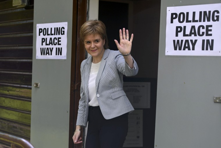 Image: Scotland's First Minister Nicola Sturgeon leaves after voting in the EU referendum, at Broomhouse Community Hall in Glasgow