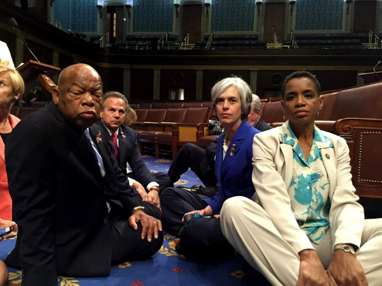 Image: A photo tweeted from the floor of the U.S. House by Rep. Edwards shows Democratic House members staging a sit-in over gun legislation in Washington