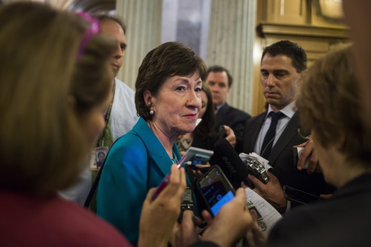 Image: Senator Collins Speaks to the Media About Her Gun Amendment