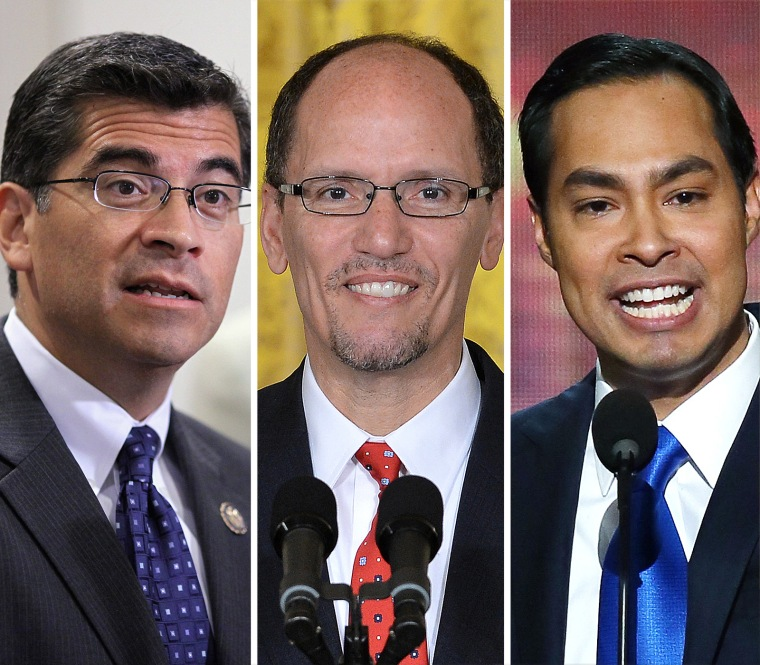 From left, Rep. Xavier Becerra, Secretary of Labor Tom Perez and Housing Secretary Julian Castro