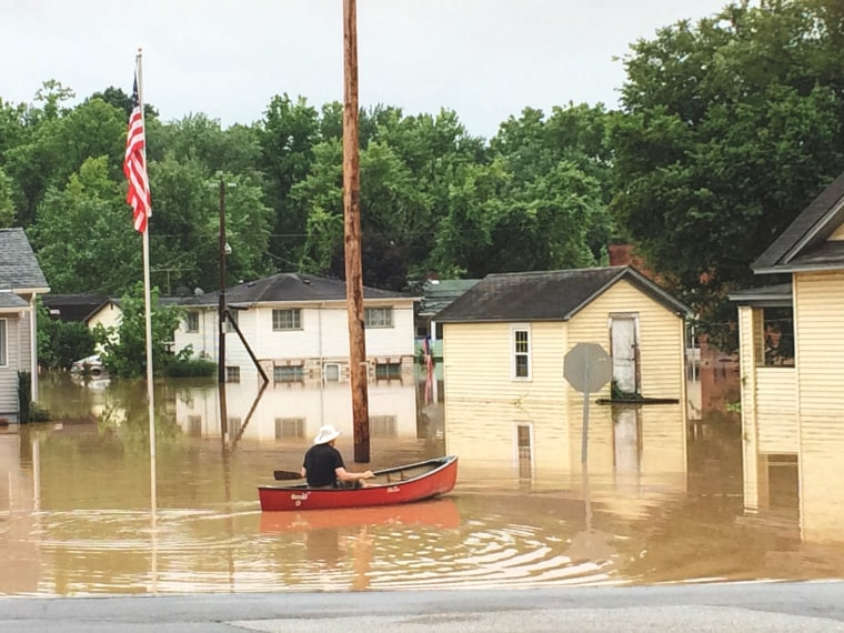 Flooding in Elkview, West Virginia on June 24, 2016.