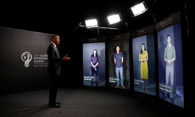 Image: U.S. President Barack Obama participates in a Google Portal virtual conversation with entrepreneurs at the Global Entrepreneurship Summit at Stanford University in Palo Alto