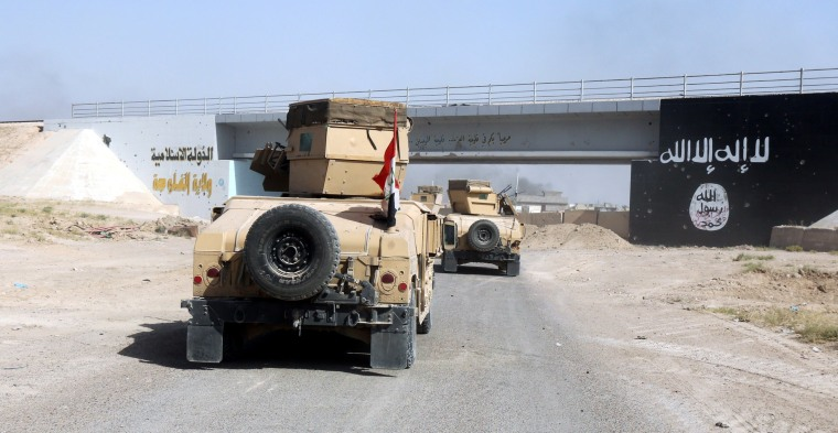 Image: Military vehicles of the Iraqi security forces pass flag of Islamic State militants in the northwestern Golan district of Falluja