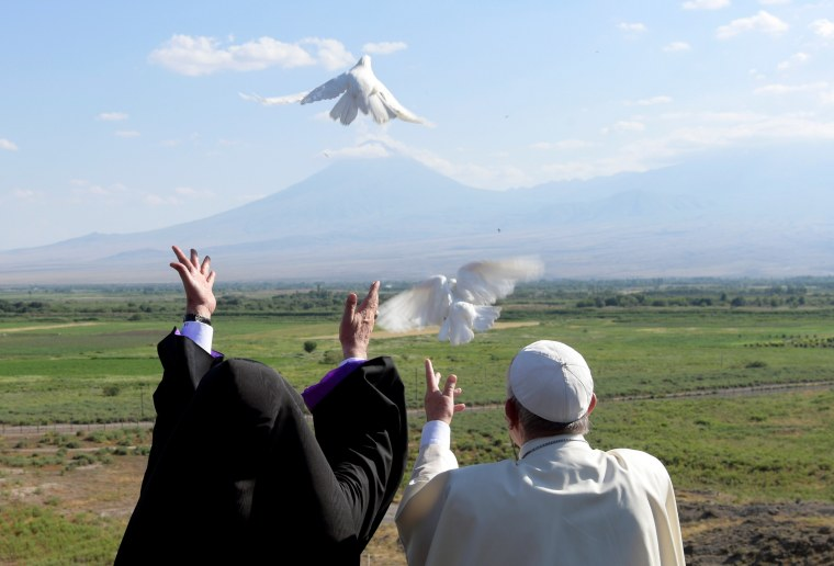 Image: Pope Francis and Catholicos of All Armenians Karekin II Armenia release white doves in front of Mount Ararat after a ceremony at the Khor Virap monastery