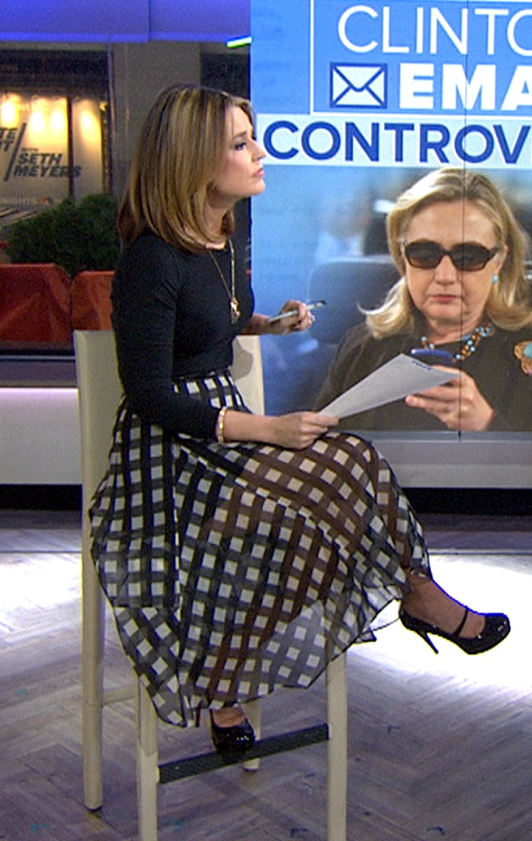 Savannah Guthrie wearing a gingham skirt on TODAY.
