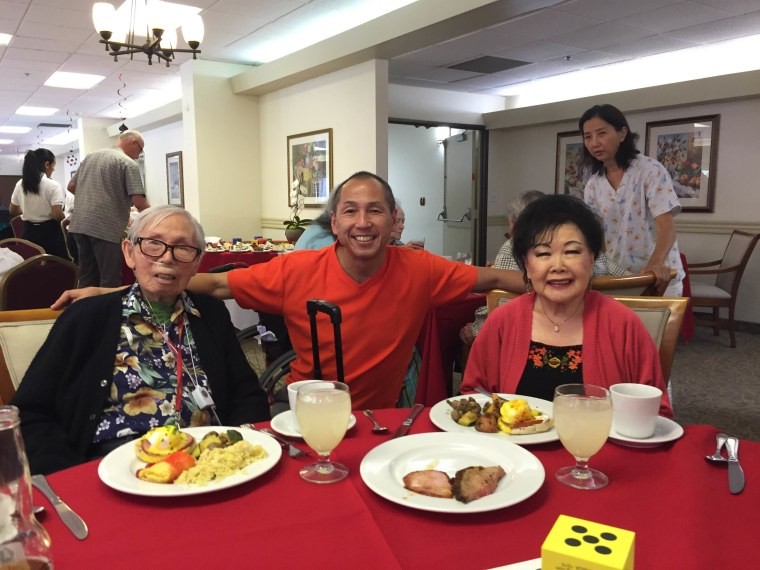 Benny Kwong, 92, his wife Evelyn, 88, and the author enjoy Father's Day brunch at Pasadena Highlands, an assisted living facility, on June 19, 2016. Benny passed away the next day from complications due to Alzheimer's.