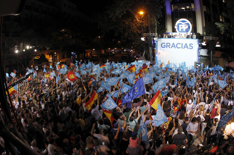 Image: Supporters of conservative People's Party in Spain