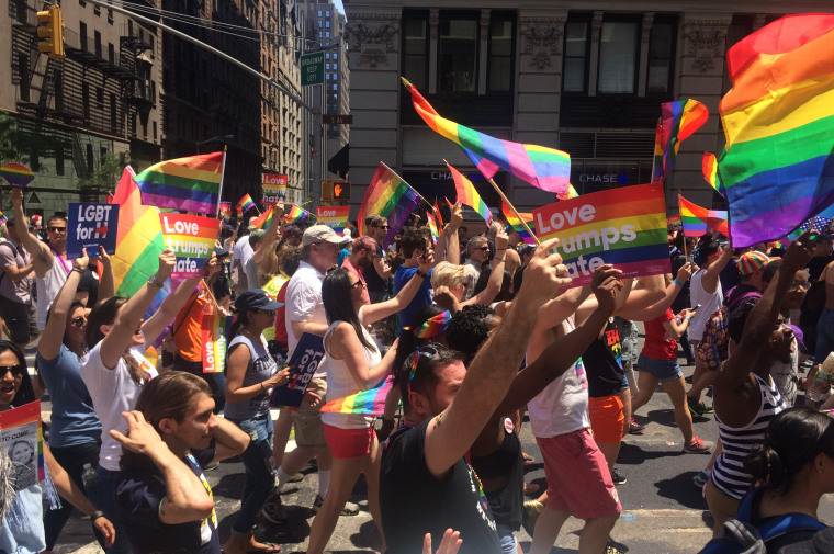 People participate in the 2016 New York City Pride March.