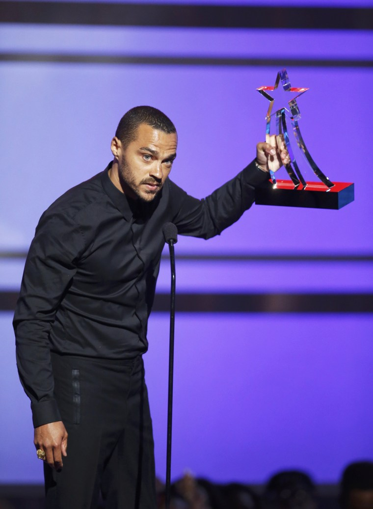 Jesse Williams accepts his award during the 2016 BET Awards in Los Angeles