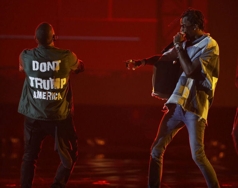 "Image: Usher (L)  and Young Thug (R) perform ""No Limit"""