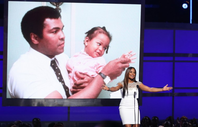 Image: Laila Ali speaks during a tribute to her late father, Muhammad Ali