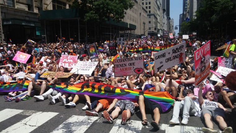 "Gays Against Guns, a newly formed LGBTQ gun control group, stages a ""die-in"" at the 2016 NYC Pride March."