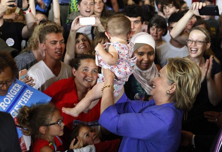 Image: Elizabeth Warren Campaigns With Hillary Clinton In Cincinnati