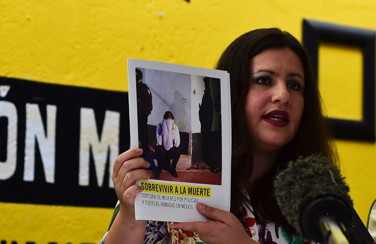 """Erika Guevara-Rosas, director for the Americas of International Amnesty speaks during the presentation of the report  """"Survive to the death"""" on torture to women in jails of Mexico"""
