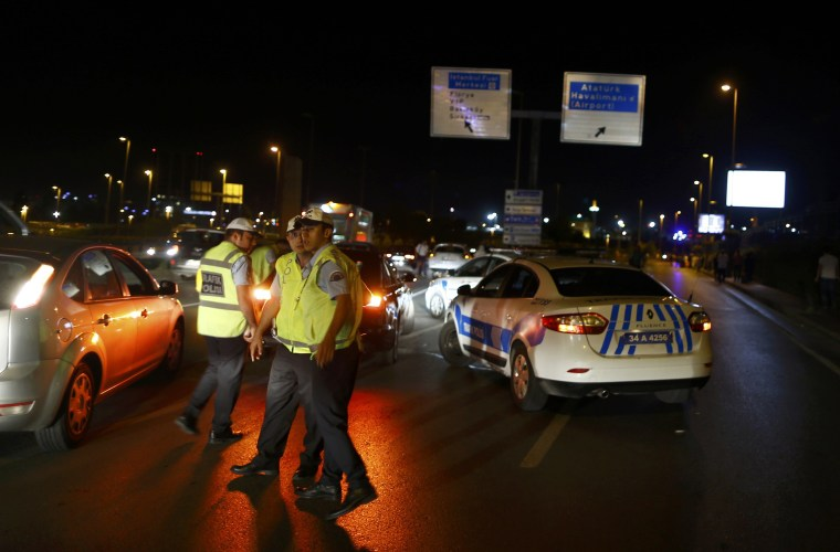 Image: Security blocks the road towards Turkey's largest airport, Istanbul Ataturk