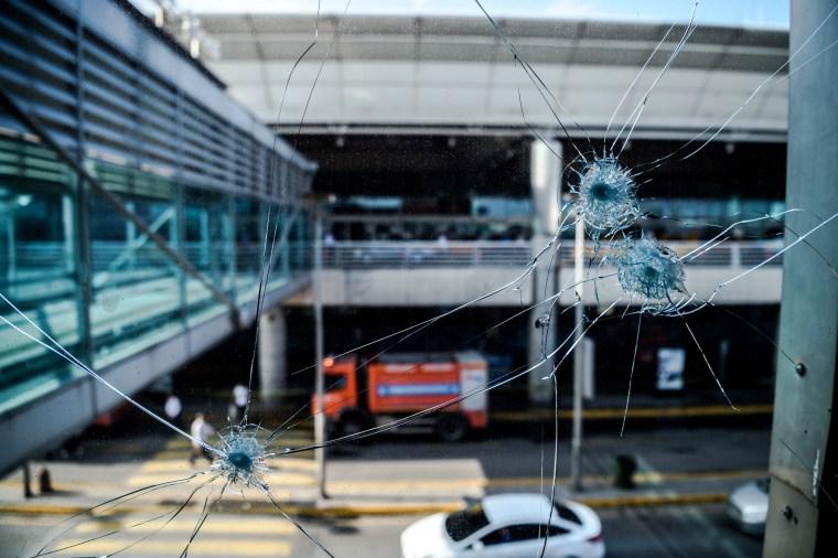 Image: Bullet impacts at Ataturk Airport in Istanbul