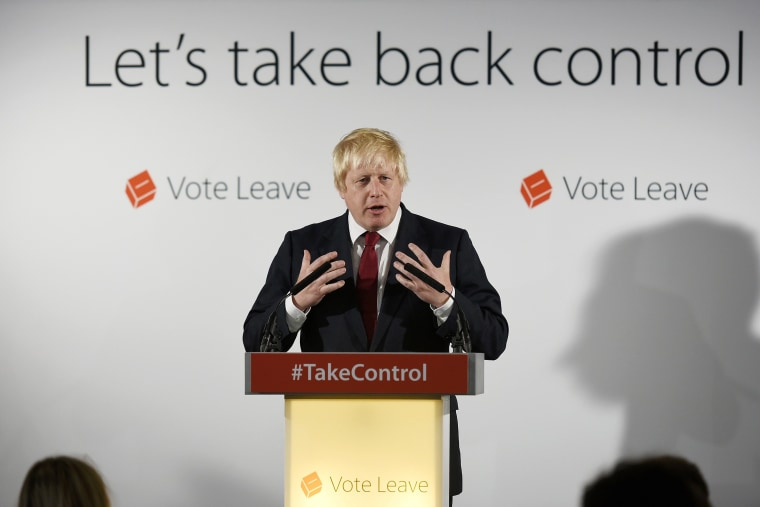 Image: Boris Johnson speaks at the group's headquarters in London