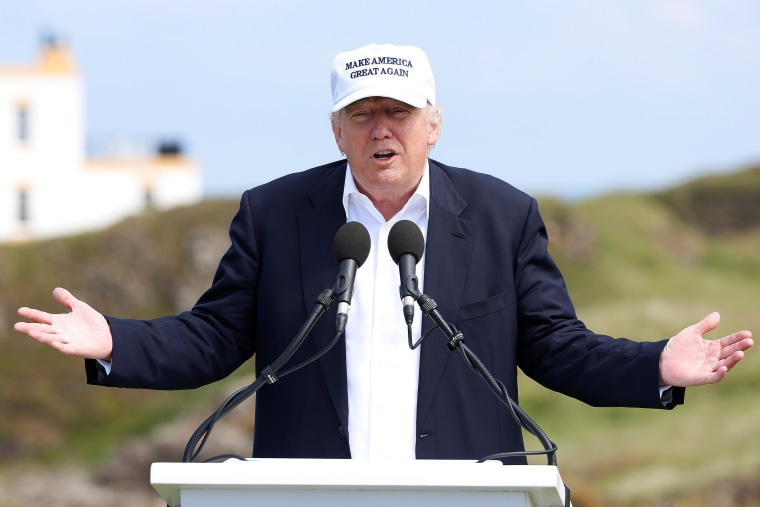 Image: Republican presidential candidate Donald Trump speaks during a news conference at Turnberry Golf course in Turnberry
