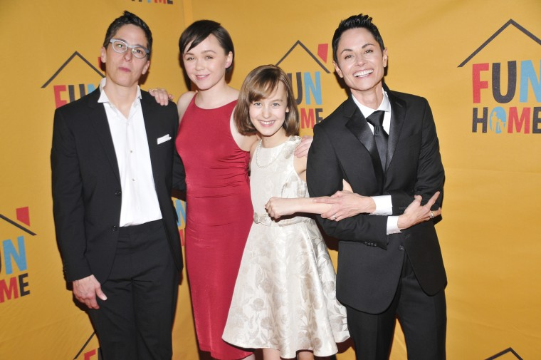 """Alison Bechdel, left, with the Broadway cast of """"Fun Home"""""""