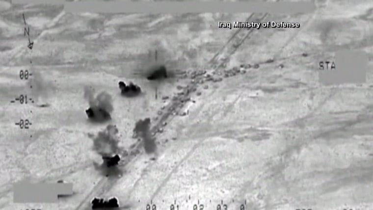 Image: Screengrab showing Iraqi airstrikes targeting ISIS near Fallujah