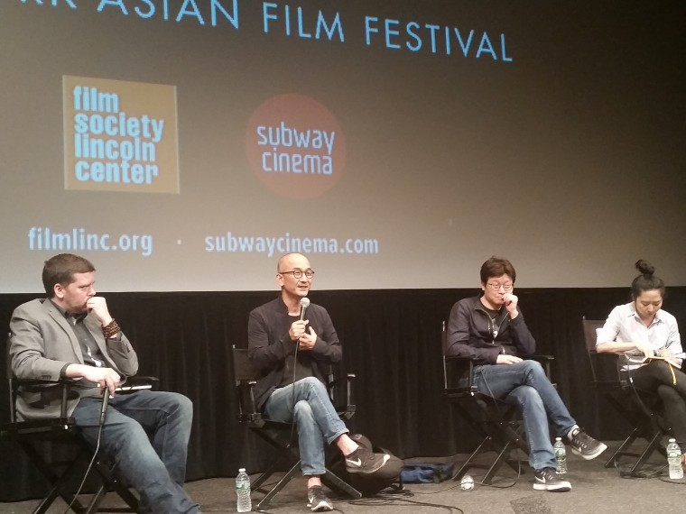 Director Lee Joon-Ik (center left) and screenwriter Shin Yeon-shick (center right) speaking about their recent movie after a screening presented by the New York Asian Film Festival""