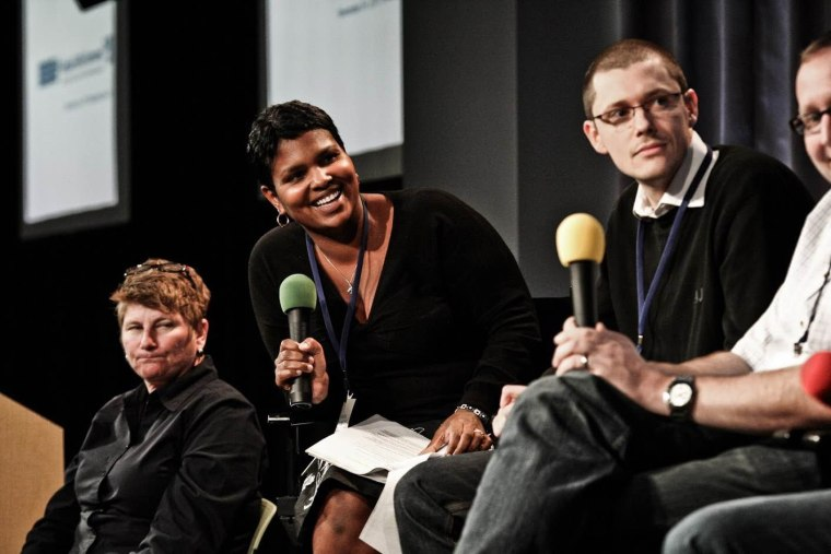 Yolanda Mangolini speaks on a panel at an internal Google event in Mountain View, CA.