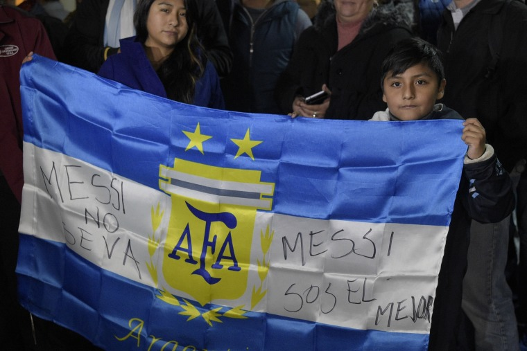 Argentinian Fans Supporting Lionel Messi in Buenos Aires, Argentina