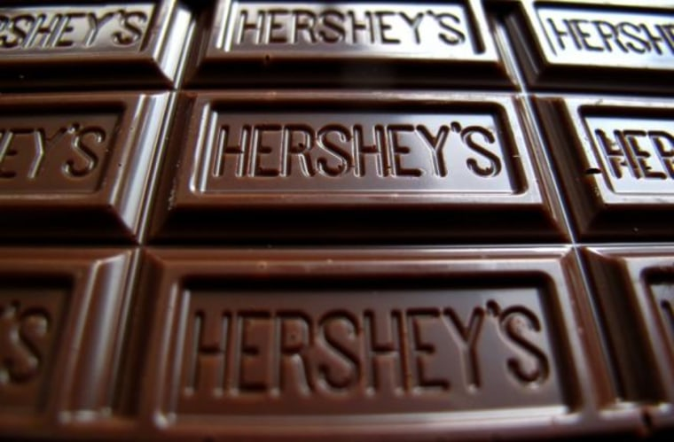 A Hershey's chocolate bar is shown in this photo illustration in Encinitas
