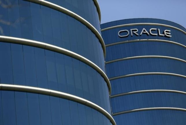 The Oracle logo is seen on its campus in Redwood City