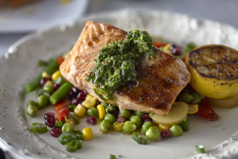Grilled Salmon with Lime Chimichurri