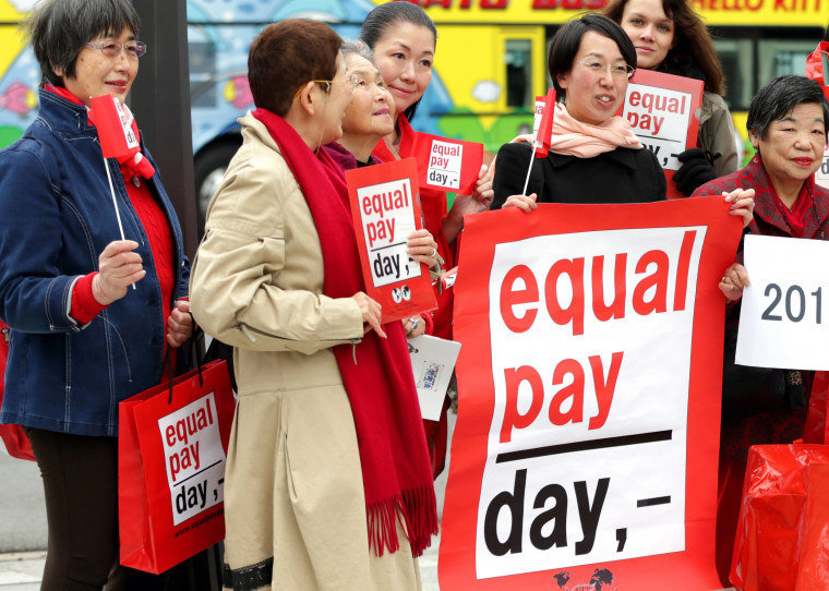 Women rally for equal pay.