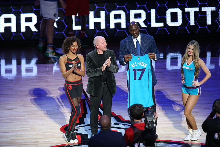 Charlotte Hornets owner and NBA Legend Michael Jordan receives a 2017 NBA All-Star jersey during the 2016 NBA All-Star Game on February 14, 2016 at the Air Canada Centre in Toronto, Ontario, Canada.