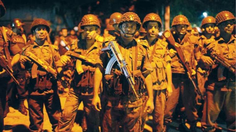 Image: Border Guards Bangladesh (BGB) personnel on alert near the Holey Artisan Bakery