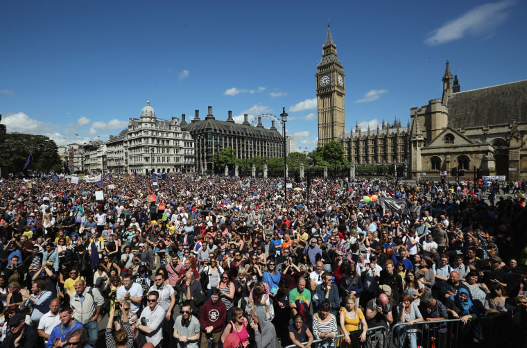 Tens of thousands of people gather in Parliament Square after marching through central London in a 'March For Europe Event' on July 2, 2016 in London, England. Demonstrators marched through central London on Saturday in a raucous and colorful protest against last week's referendum vote to leave the European Union.