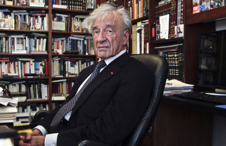Holocaust activist and Nobel Peace Prize recipient Elie Wiesel, 83, in his office on in New York on Sept. 12, 2012.
